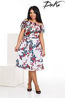 Платье с открытыми плечами цветочный принт батал