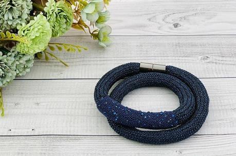 Браслет из ткани, синий с камнями, накрутка, фото 2