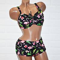 Большой размер 60 (7XL) черный с цветными узорами женский раздельный купальник для пышной груди
