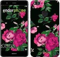 "Чехол на Huawei P10 Lite Розы на черном фоне ""2239u-896-571"""