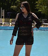Пляжная красивая кружевная туника с открытыми плечами, фото 1