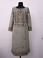 Льняное вышитое платье Ятрань серого цвета с поясом 42 -56 р