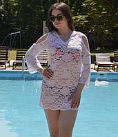 Стильная ажурная пляжная туника с открытыми плечами, фото 1
