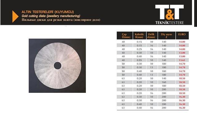 Пильные диски по ювелирным металлам