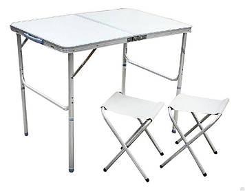 Стол складной + 2 стула в чемодане 900х600. Для пикника, кемпинга, рыбалки, сада.