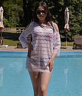 Пляжное платье реснички с открытыми плечами, фото 1