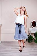 Летняя юбка с синим бантом