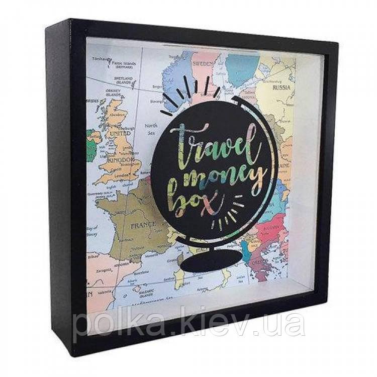 Деревянная копилка для денег Travel money box Глобус