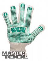 MasterTool  Перчатки х/б с ПВХ-точками  7 кл, 3 нити белые, Арт.: 83-0301