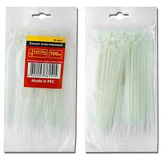 Хомут пластиковый 2,5x200мм, (100 шт/упак), белый