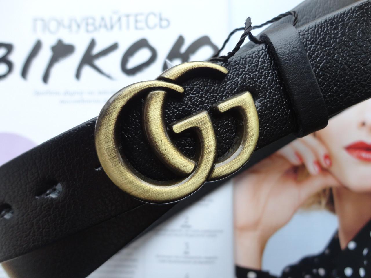 Женские кожаные ремни GUCCI  ширина 3 см бронза