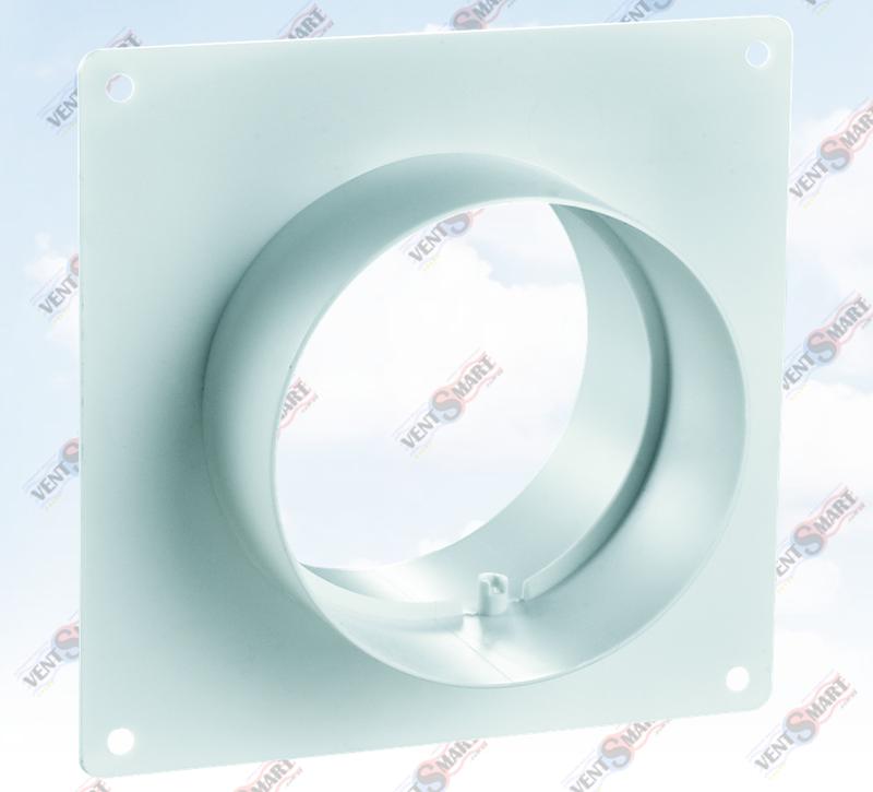 Внешний вид соединителей настенных без обратного клапана для круглых пластиковых вентиляционных труб ПЛАСТИВЕНТ производства ВЕНТС (Украина). Вентиляционный соединитель настенный ПВХ системы Пластивент изготовлены из пластика высокого качества, который не поддерживает горение и имеет широкий температурный диапазон эксплуатации ― от минус 30 до плюс 70 град. Цельсия.