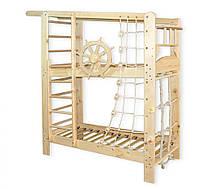 Двухъярусная спортивная кровать Капитан из сосны