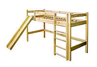 Кровать чердак Babygrai из сосны с горкой