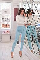 Стильные женские легенсы из стрейч джинса с разрезами на коленах (в светлых тонах). Арт-2587/64