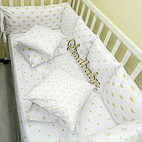 АКЦИЯ: Бортики в кроватку «Белоснежная сказка» (с простынкой и плюшевым пледом)