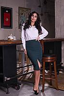 Облегающая женская юбка карандаш с разрезом спереди. Арт-2589/64 Темно-зеленый