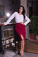 Облегающая женская юбка карандаш с разрезом спереди. Арт-2589/64 Бордовый