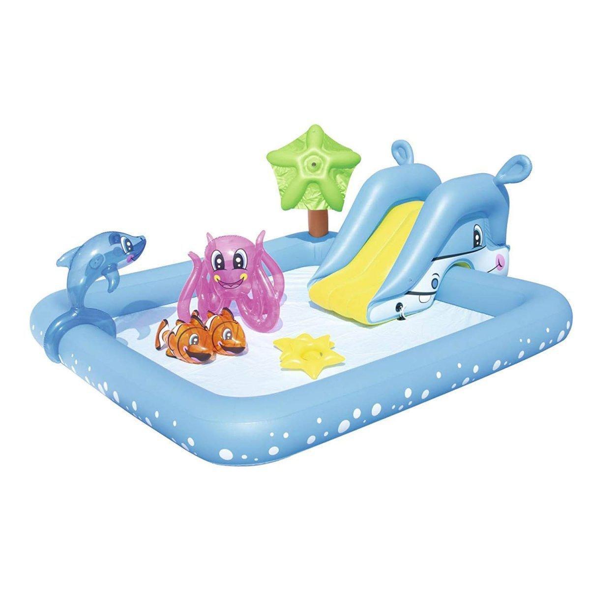 Надувной игровой центр Bestway 53052 «Аквариум» с горкой и с игрушками
