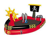 Надувной игровой центр бассейн Bestway 53041 «Пиратский корабль» с надувными мечами и водной пушкой