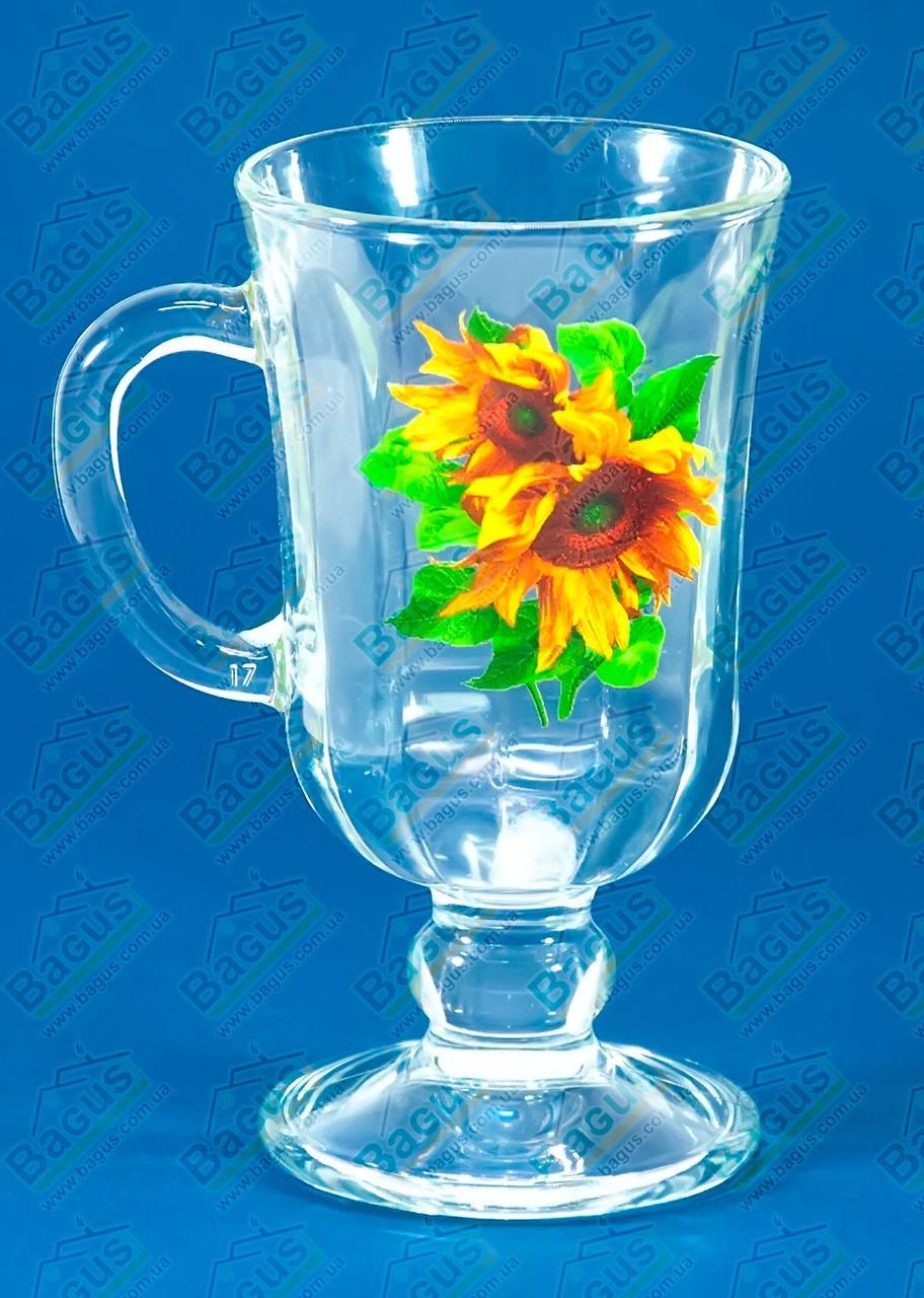 "Чашка стеклянная 200мл ""Глинтвейн"" декор ""Подсолнух"" 10c1561"