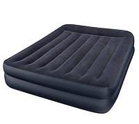 Двуспальная велюровая надувная кровать Intex 64124 со встроенным насосом 220V (203* 152* 42 см)