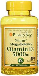 Puritan's Pride Vitamin D3 5000 200 капс