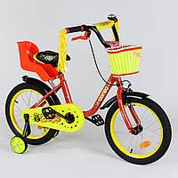 """Велосипед 16"""" дюймов 2-х колёсный 1693 """"CORSO"""", новый ручной тормоз, звоночек, кресло для куклы, корзинка, доп"""