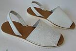 Стиляшки! Женские кожаные сандалии испанка! Летние босоножки менорки белого цвета, фото 5