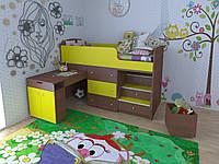 """Детская кровать чердак """"Школьник""""  Лайм +  орех лесной с ящиком для игрушек"""