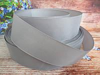 Лента репсовая однотонная, цвет ТЕМНО-СЕРЫЙ, 3,8-4 см.