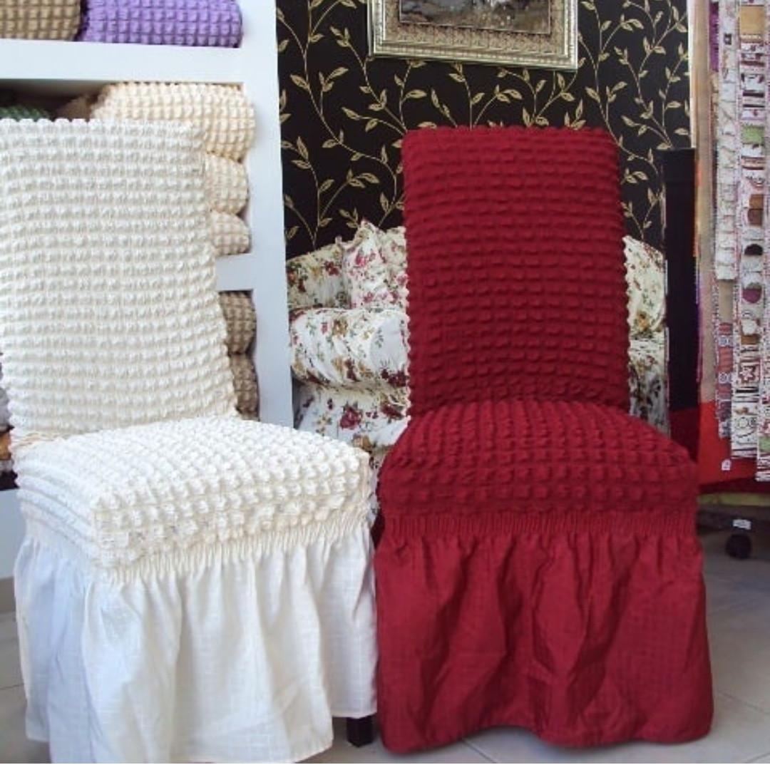 Натяжні чохли на стільці з оборкою, Туреччина 6 штук (Багато квітів)
