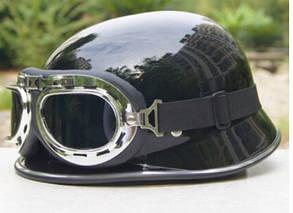 Ретро немецкая мото каска с очками, фото 2