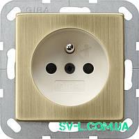 Розетка с з/к Gira 0485613 бронза/кремовый.