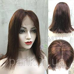 Коричневый парик из натуральных волос удлинённое каре на сетке. На большую голову