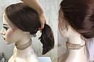 Коричневый парик из натуральных волос удлинённое каре на сетке. На большую голову, фото 4