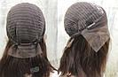 Коричневый парик из натуральных волос удлинённое каре на сетке. На большую голову, фото 6
