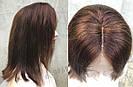 Коричневый парик из натуральных волос удлинённое каре на сетке. На большую голову, фото 5