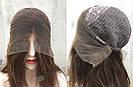Коричневый парик из натуральных волос удлинённое каре на сетке. На большую голову, фото 7