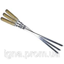 Шампур с деревянной ручкой нерж.сталь 600x10x2мм УК-Ш60Д (50шт)
