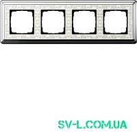 Рамка 4 поста Gira ClassiX Art 0214683 хром-кремовый.