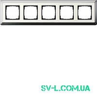 Рамка 5 постов Gira ClassiX 0215643 хром-кремовый.
