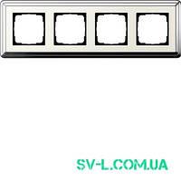 Рамка 4 поста Gira ClassiX 0214643 хром-кремовый.