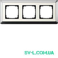 Рамка 3 поста Gira ClassiX 0213643 хром-кремовый.