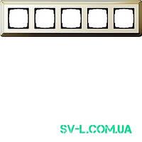 Рамка 5 постов Gira ClassiX 0215633 латунь-кремовый.