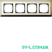 Рамка 4 поста Gira ClassiX 0214633 латунь-кремовый.