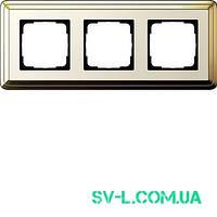 Рамка 3 поста Gira ClassiX 0213633 латунь-кремовый.