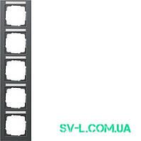 Рамка 5 постов с полем для надписи Gira 111523 антрацит.