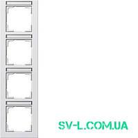 Рамка 4 поста с полем для надписи Gira 111422 белый матовый.