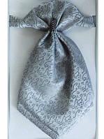 Широкий галстук-пластрон для мальчика с платком в карман серый
